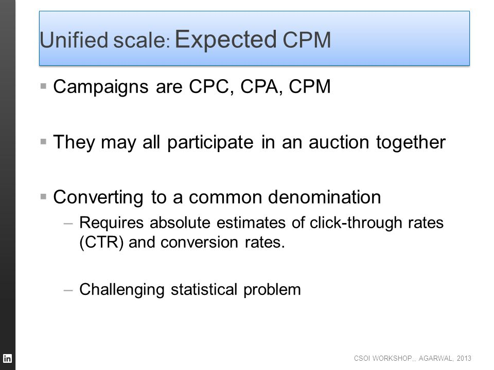 Unified scale: Expected CPM