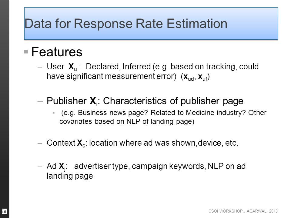 Data for Response Rate Estimation