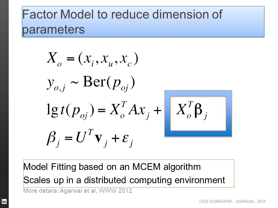 Factor Model to reduce dimension of parameters