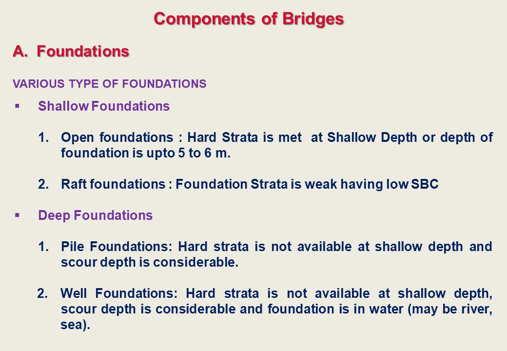 Components of Bridges A. Foundations Shallow Foundations