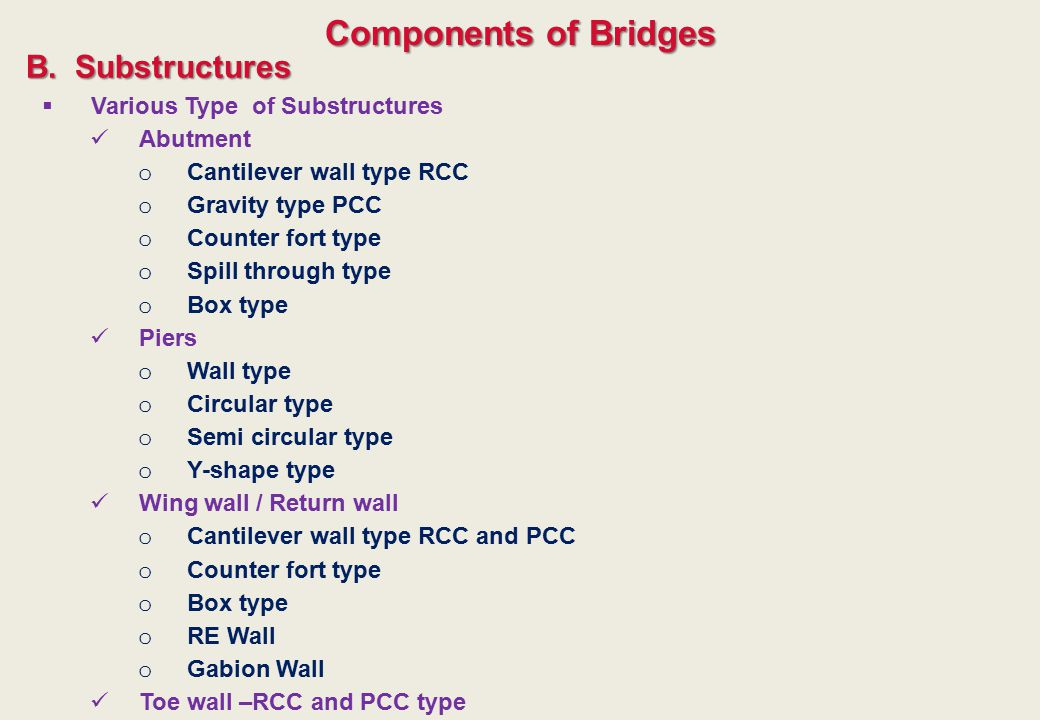 Components of Bridges B. Substructures Various Type of Substructures