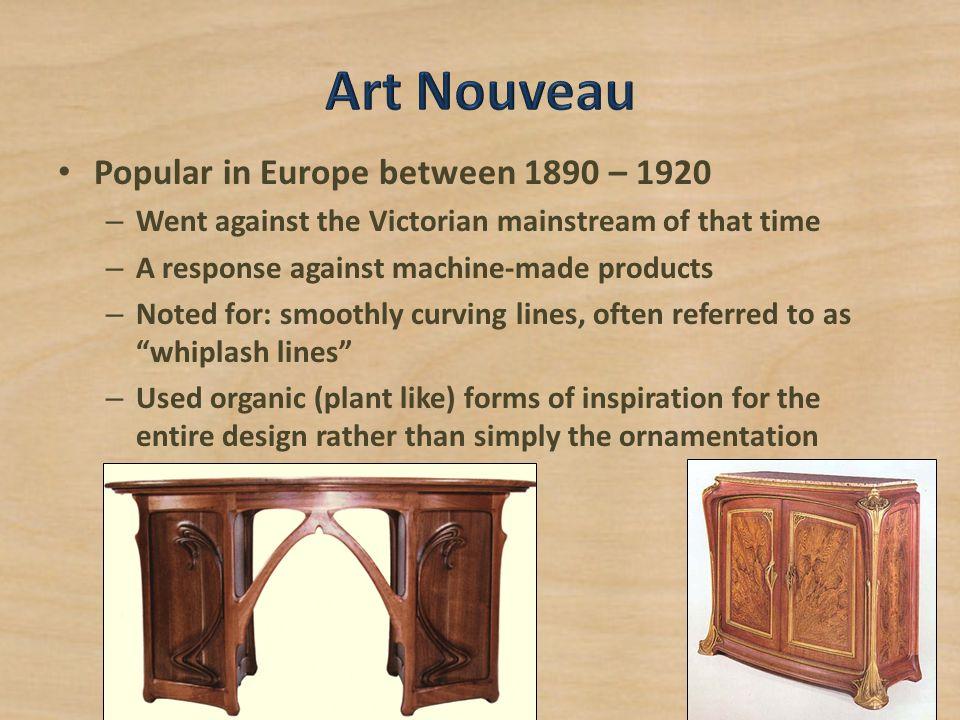 Art Nouveau Popular in Europe between 1890 – 1920