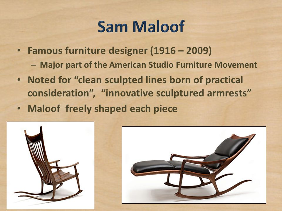 major part of the american studio furniture movement noted for clean