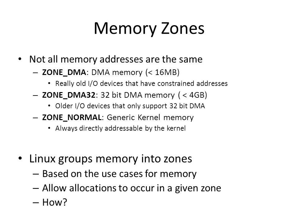 Memory Zones Linux groups memory into zones