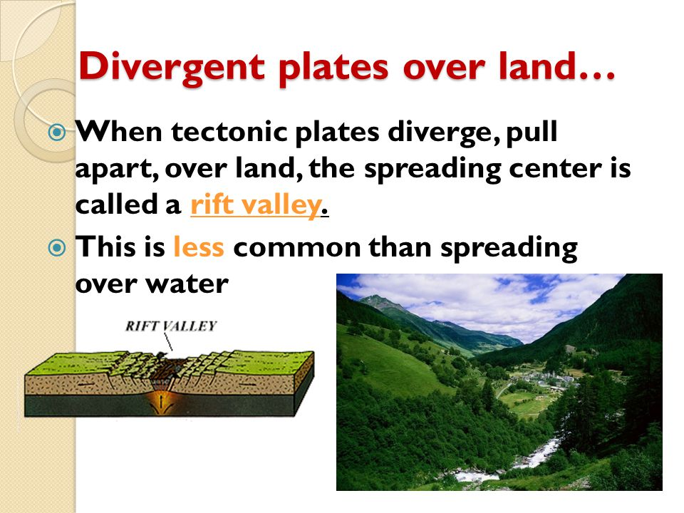 Divergent plates over land…