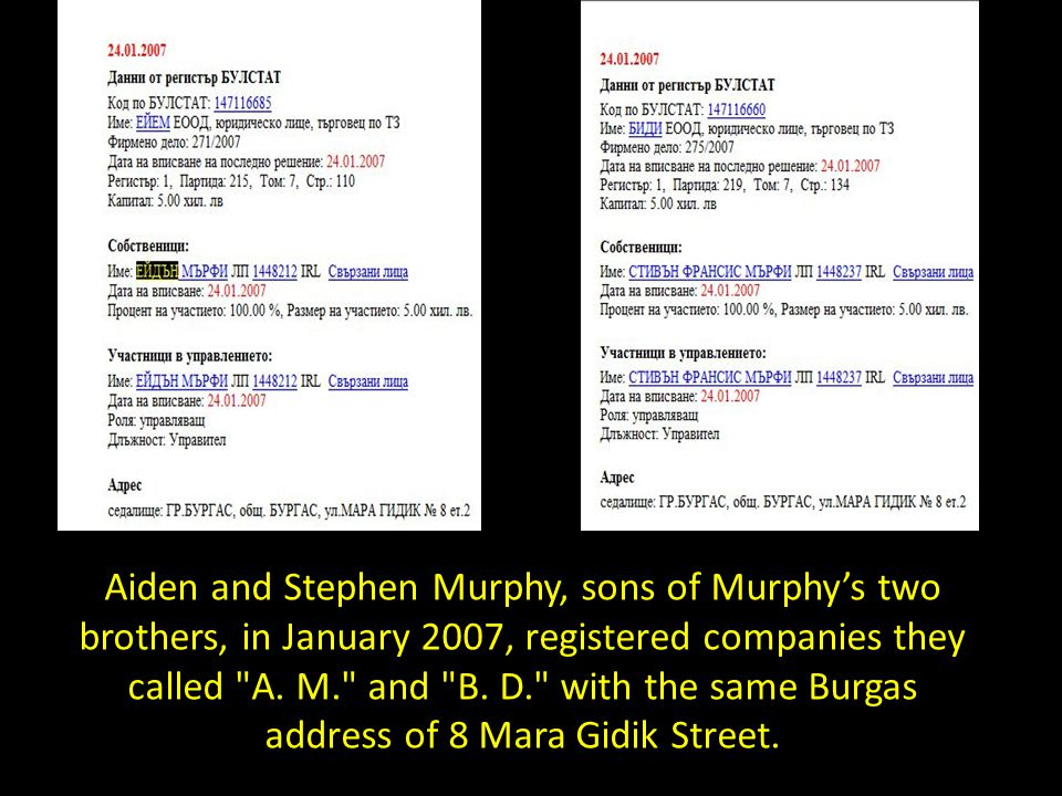 Aiden and Stephen Murphy, sons of Murphy's two brothers, in January 2007, registered companies they called A.