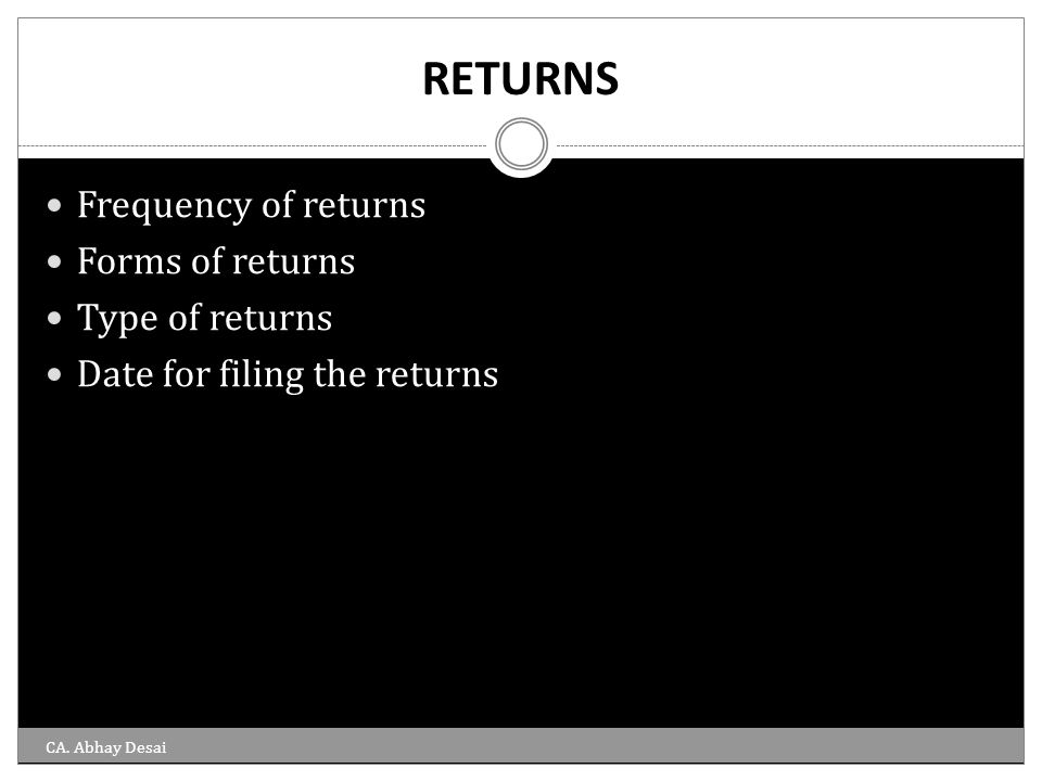 RETURNS Frequency of returns Forms of returns Type of returns