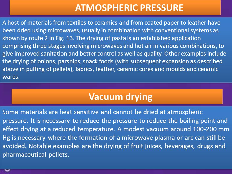 ATMOSPHERIC PRESSURE Vacuum drying