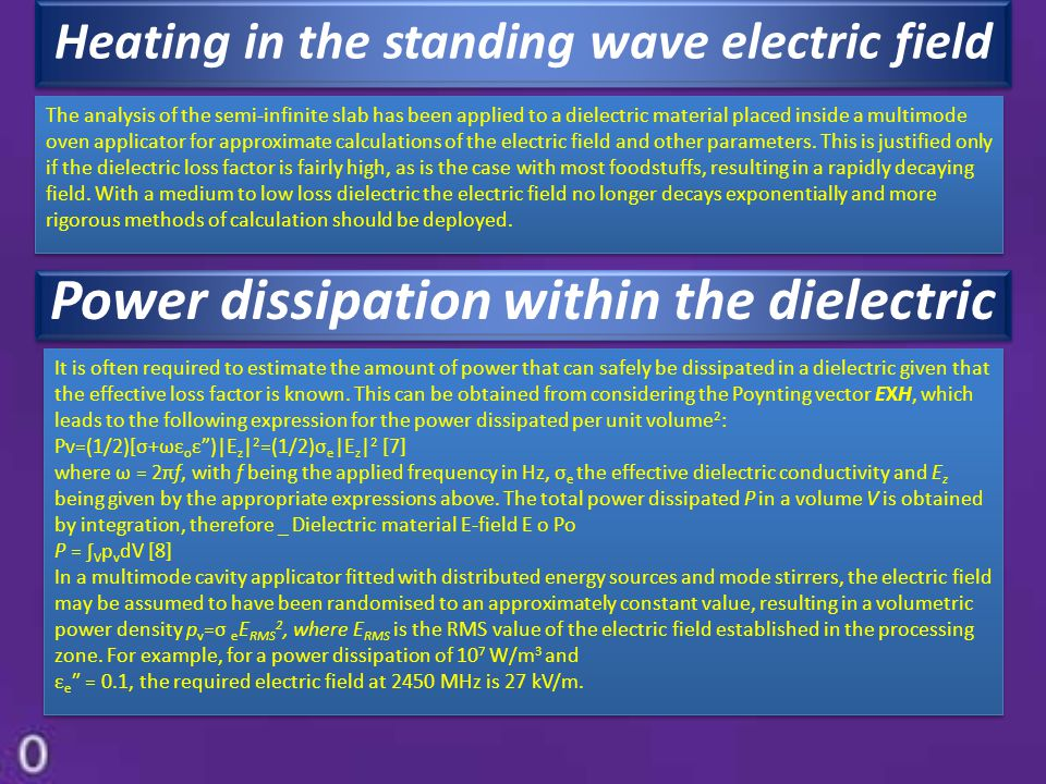 Power dissipation within the dielectric
