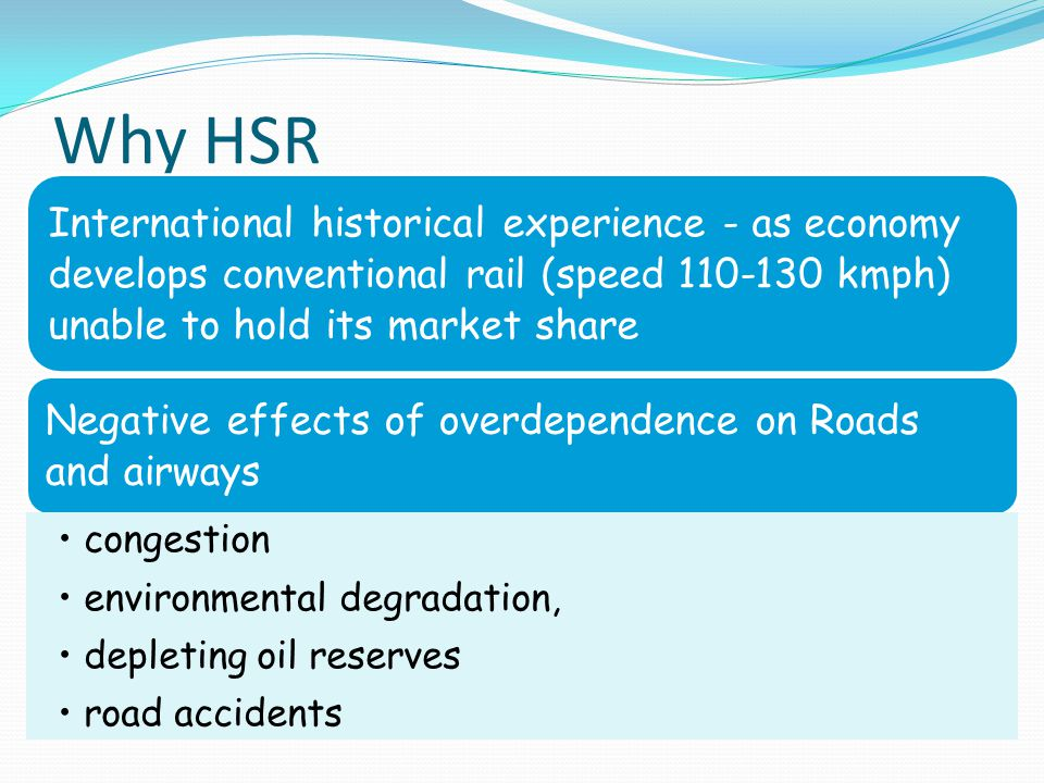 Why HSR International historical experience - as economy develops conventional rail (speed 110-130 kmph) unable to hold its market share.