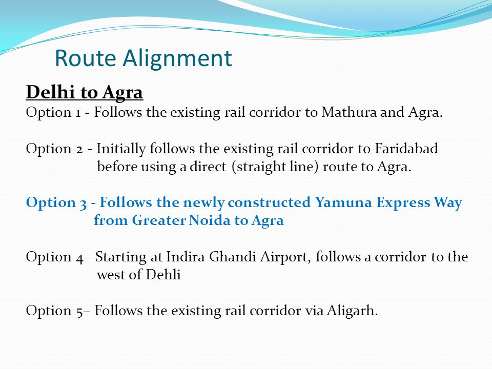 Route Alignment Delhi to Agra