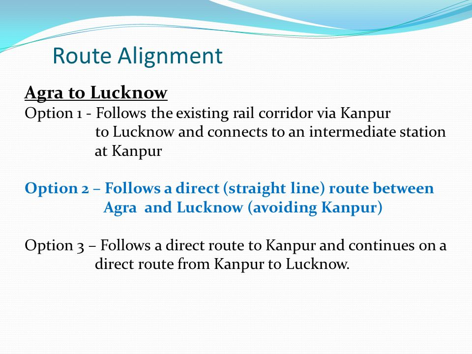 Route Alignment Agra to Lucknow
