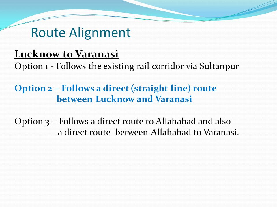 Route Alignment Lucknow to Varanasi