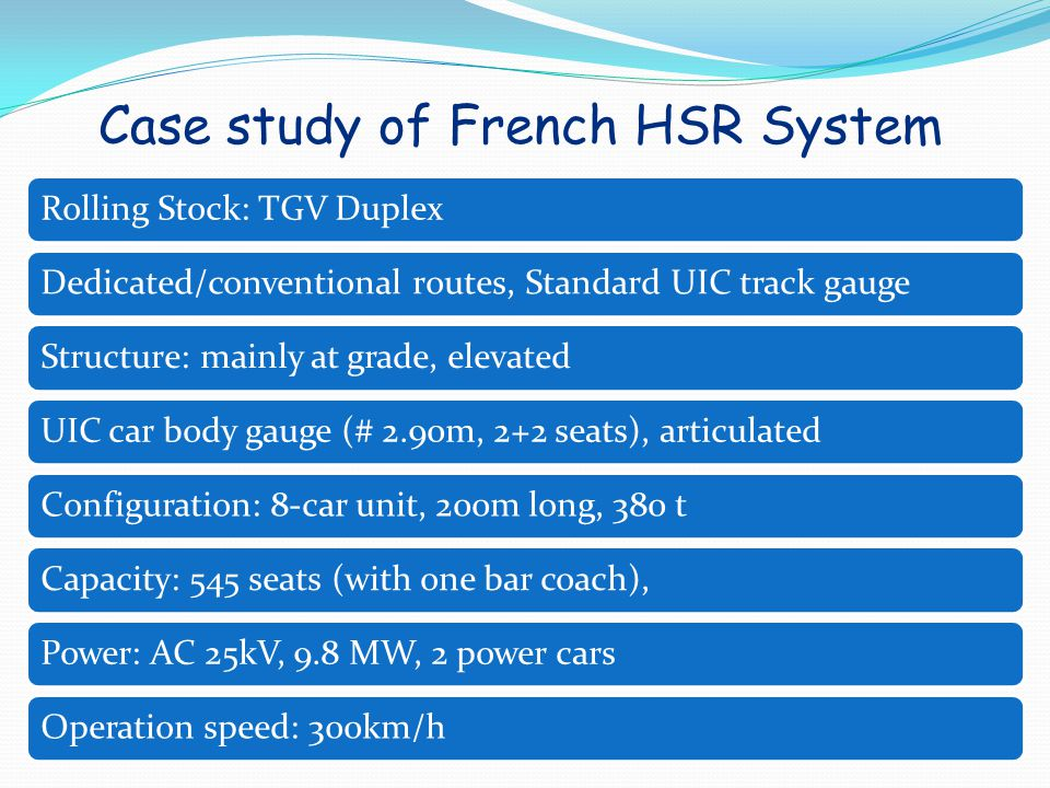 Case study of French HSR System