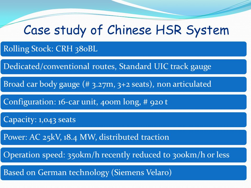 Case study of Chinese HSR System
