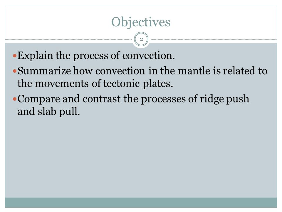 Objectives Explain the process of convection.