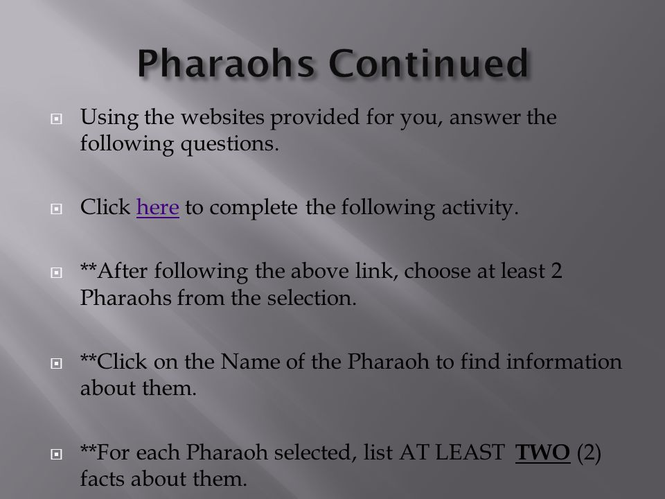 Pharaohs Continued Using the websites provided for you, answer the following questions. Click here to complete the following activity.