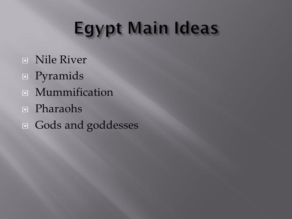 Egypt Main Ideas Nile River Pyramids Mummification Pharaohs