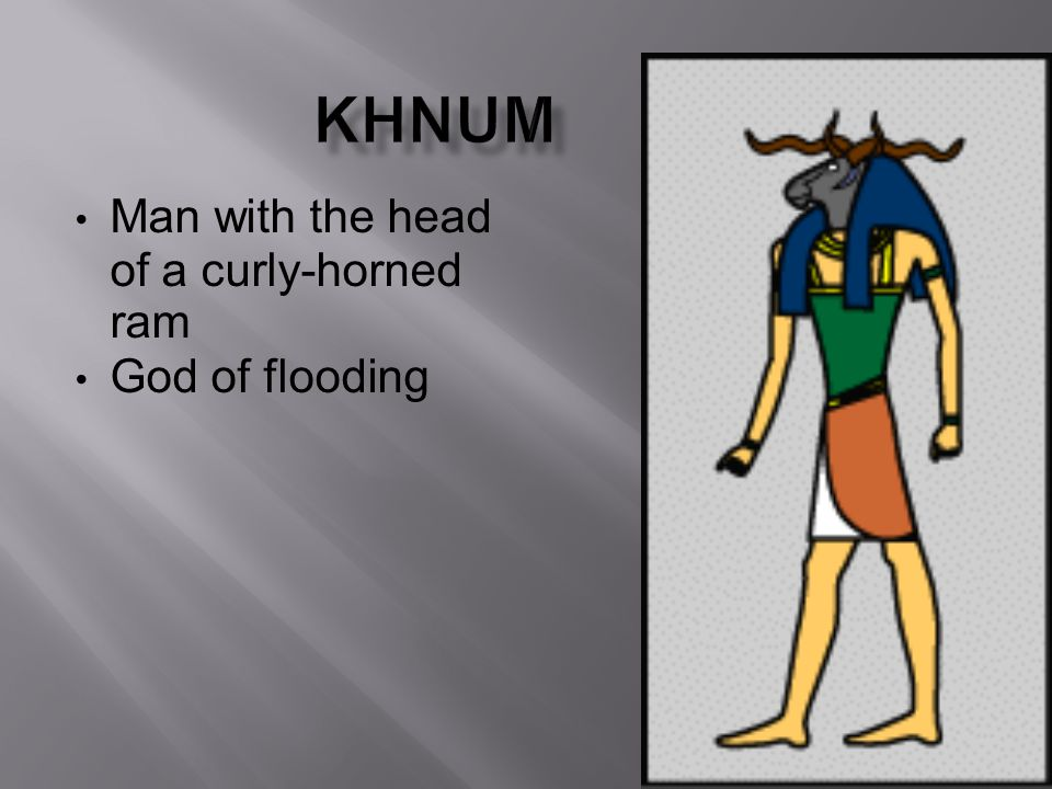 Man with the head of a curly-horned ram God of flooding