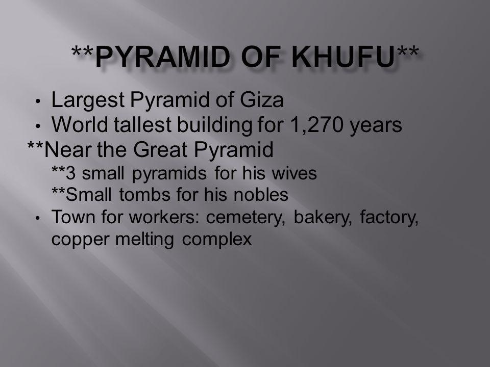 **Pyramid of Khufu** Largest Pyramid of Giza