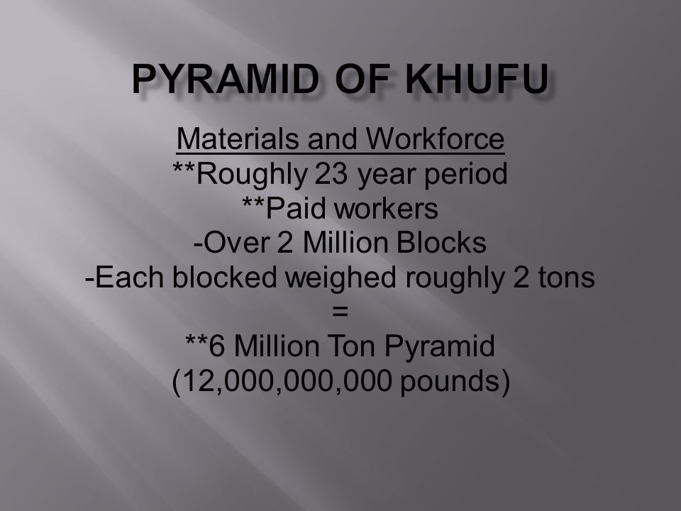 Pyramid of Khufu Materials and Workforce **Roughly 23 year period