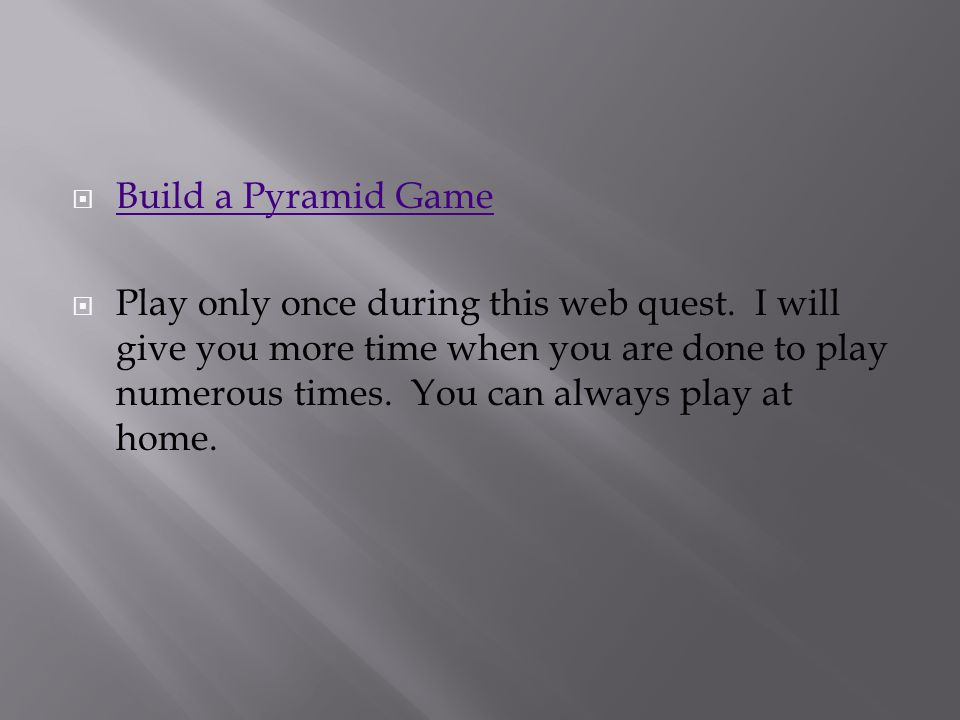 Build a Pyramid Game