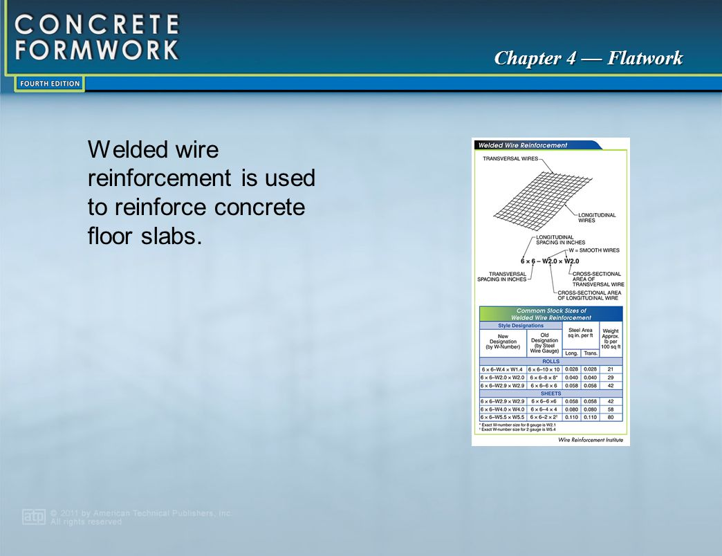 Welded wire reinforcement is used to reinforce concrete floor slabs.