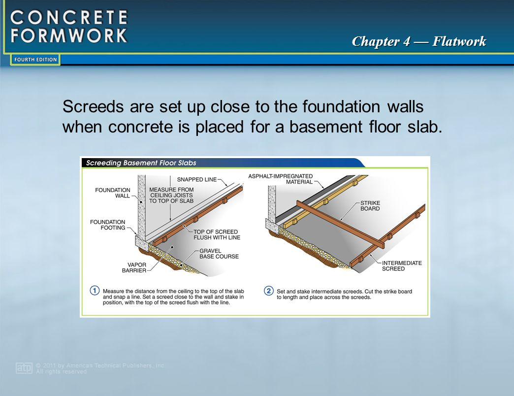 Screeds are set up close to the foundation walls when concrete is placed for a basement floor slab.