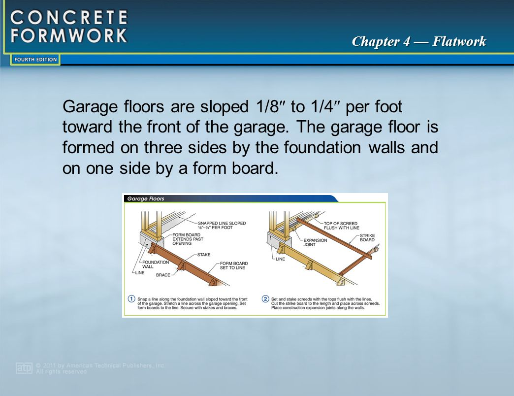 Garage floors are sloped 1/8 to 1/4 per foot toward the front of the garage. The garage floor is formed on three sides by the foundation walls and on one side by a form board.