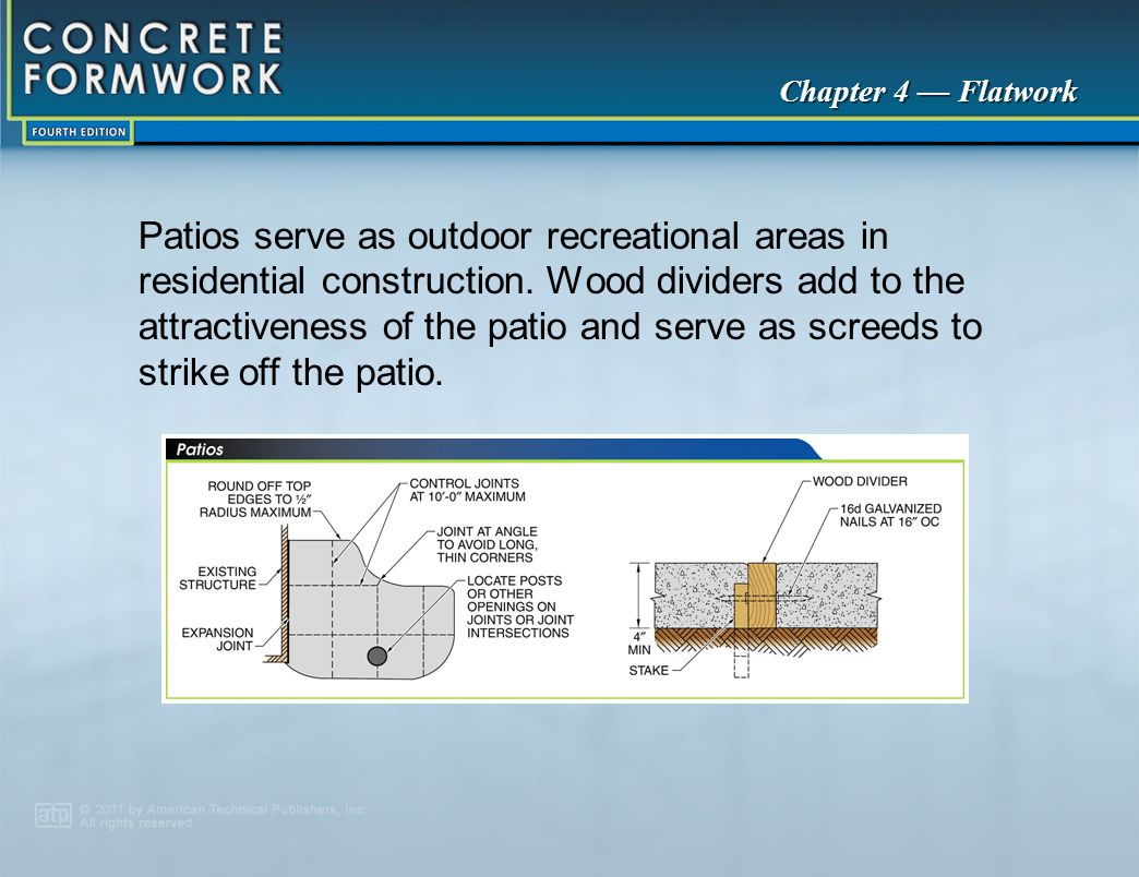 Patios serve as outdoor recreational areas in residential construction