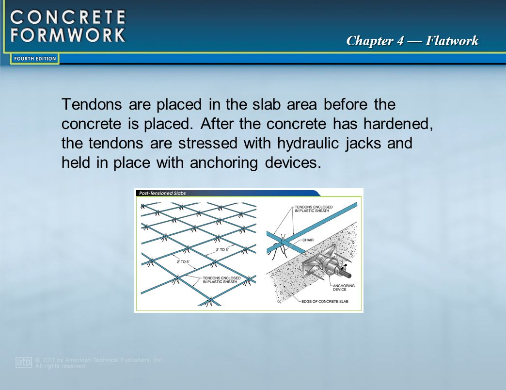 Tendons are placed in the slab area before the concrete is placed