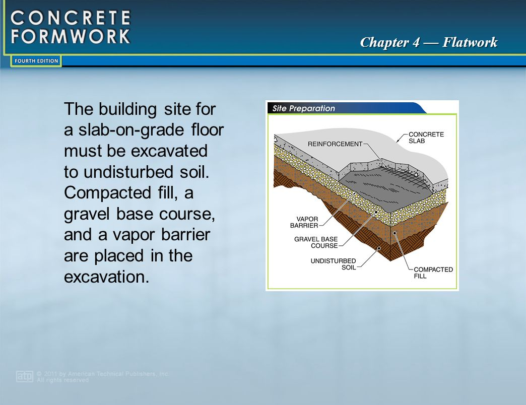 The building site for a slab‑on‑grade floor must be excavated to undisturbed soil. Compacted fill, a gravel base course, and a vapor barrier are placed in the excavation.