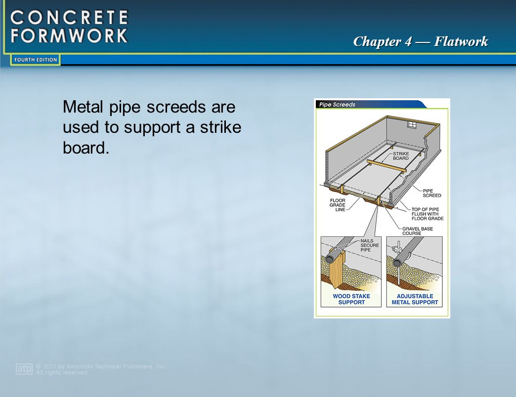 Metal pipe screeds are used to support a strike board.