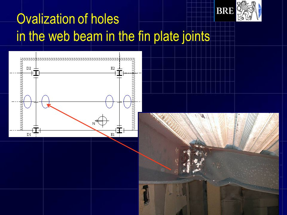 Ovalization of holes in the web beam in the fin plate joints