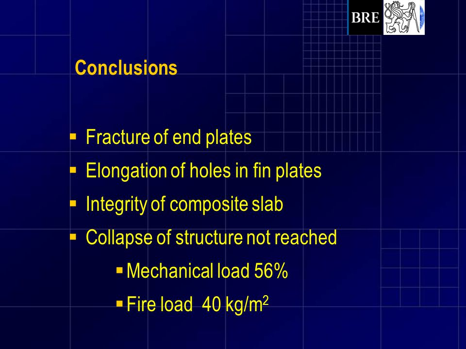 Conclusions Fracture of end plates. Elongation of holes in fin plates. Integrity of composite slab.