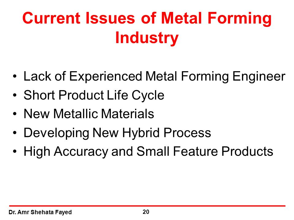 Current Issues of Metal Forming Industry