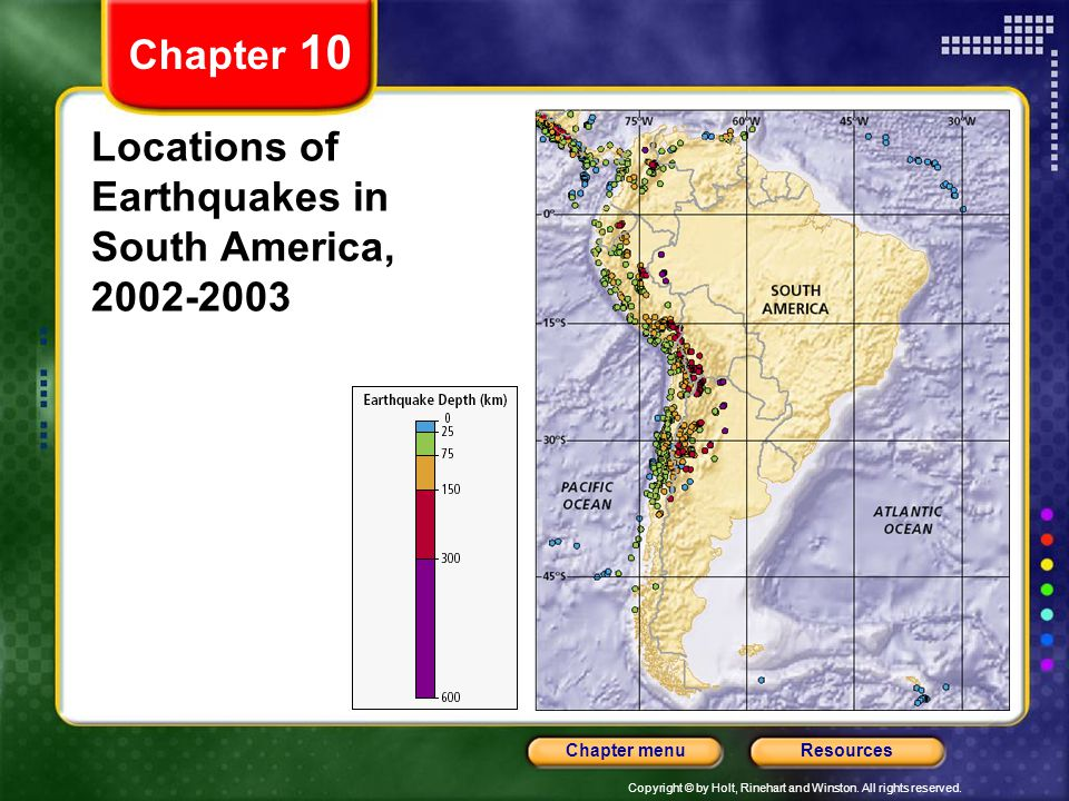 Locations of Earthquakes in South America, 2002-2003