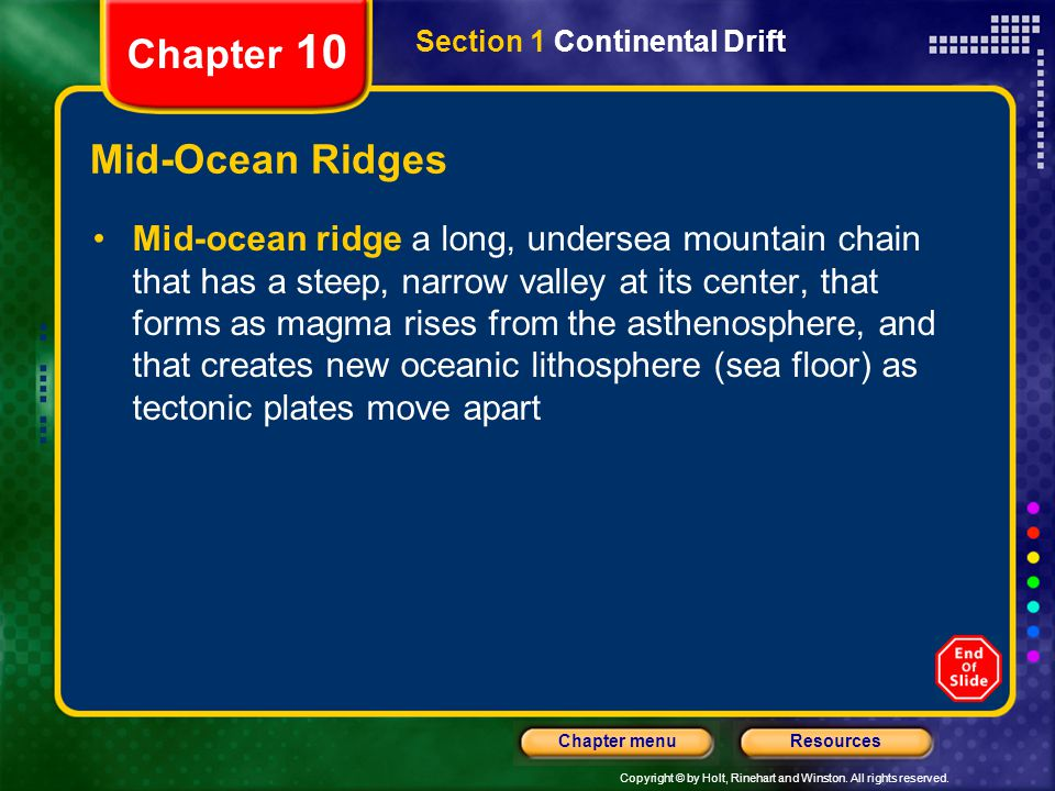 Chapter 10 Mid-Ocean Ridges