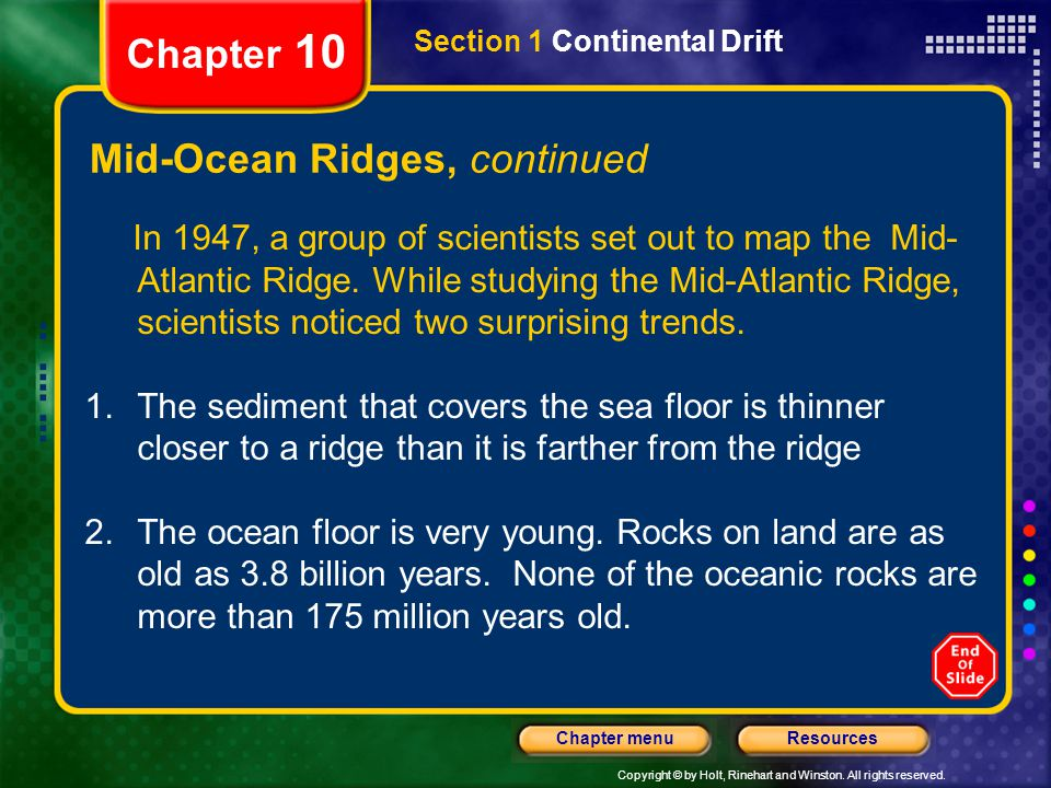 Mid-Ocean Ridges, continued
