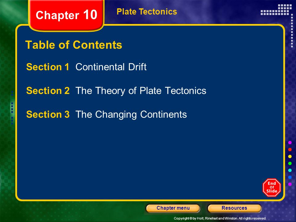 Chapter 10 Table of Contents Section 1 Continental Drift