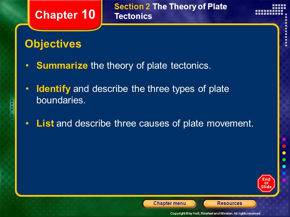 Chapter 10 Objectives Summarize the theory of plate tectonics.