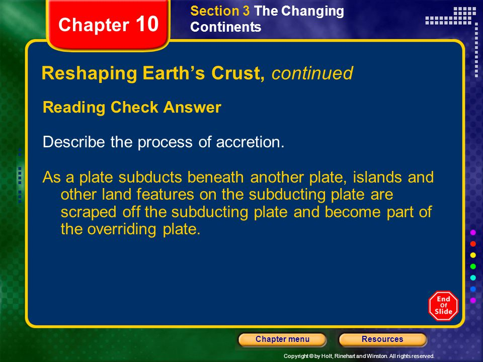 Reshaping Earth's Crust, continued