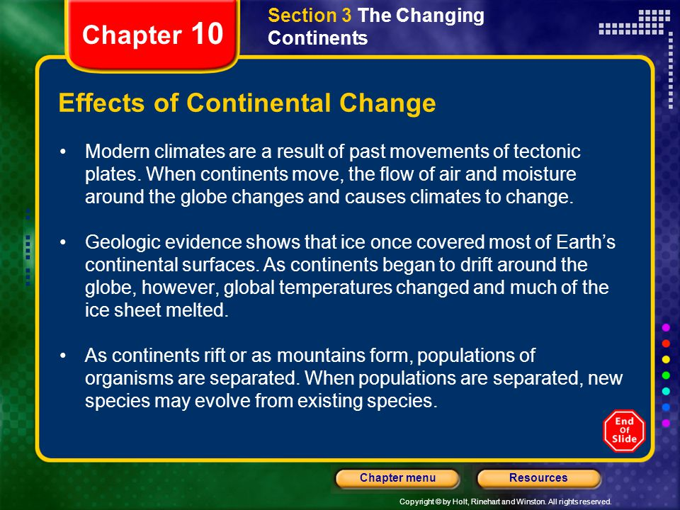 Effects of Continental Change