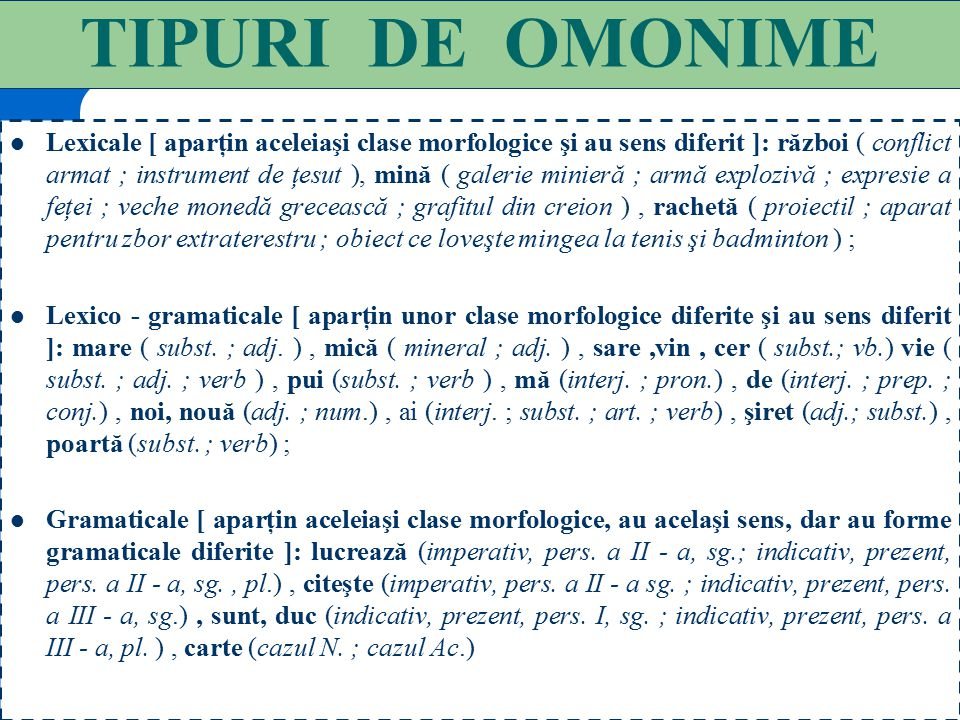 TIPURI DE OMONIME