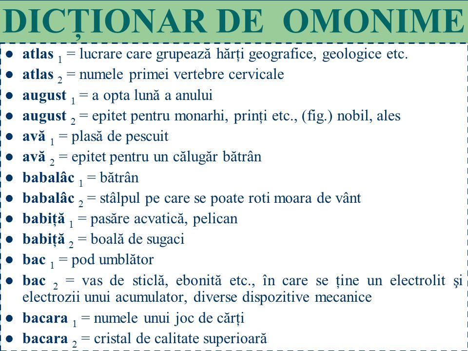 DICŢIONAR DE OMONIME atlas 1 = lucrare care grupează hărţi geografice, geologice etc. atlas 2 = numele primei vertebre cervicale.