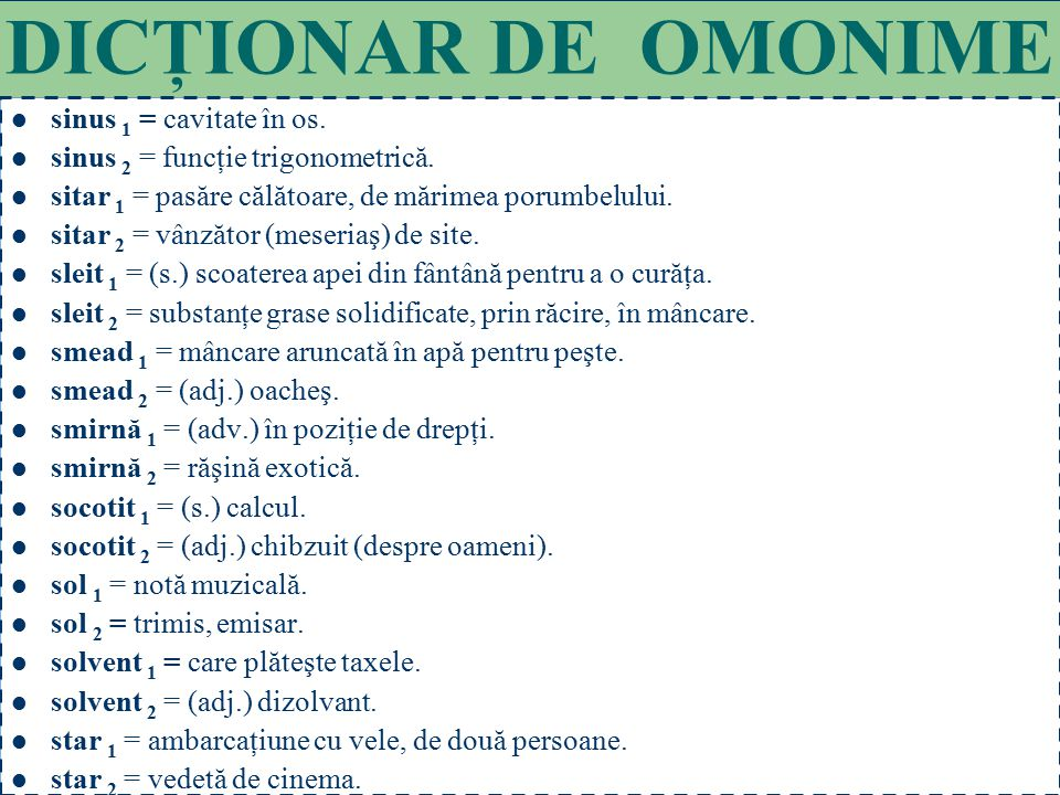 DICŢIONAR DE OMONIME sinus 1 = cavitate în os.