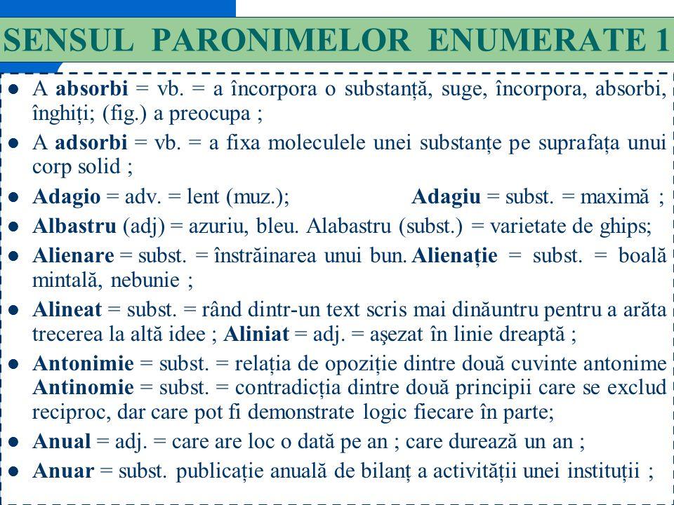 SENSUL PARONIMELOR ENUMERATE 1