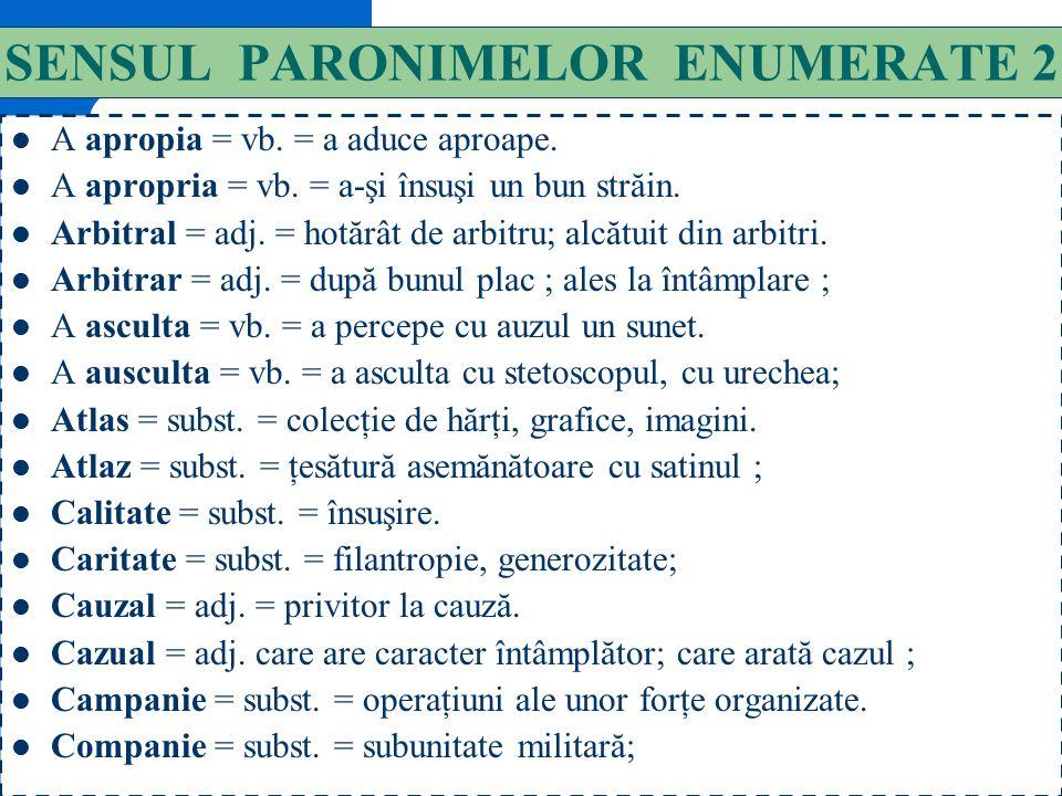 SENSUL PARONIMELOR ENUMERATE 2