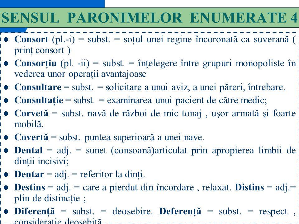SENSUL PARONIMELOR ENUMERATE 4