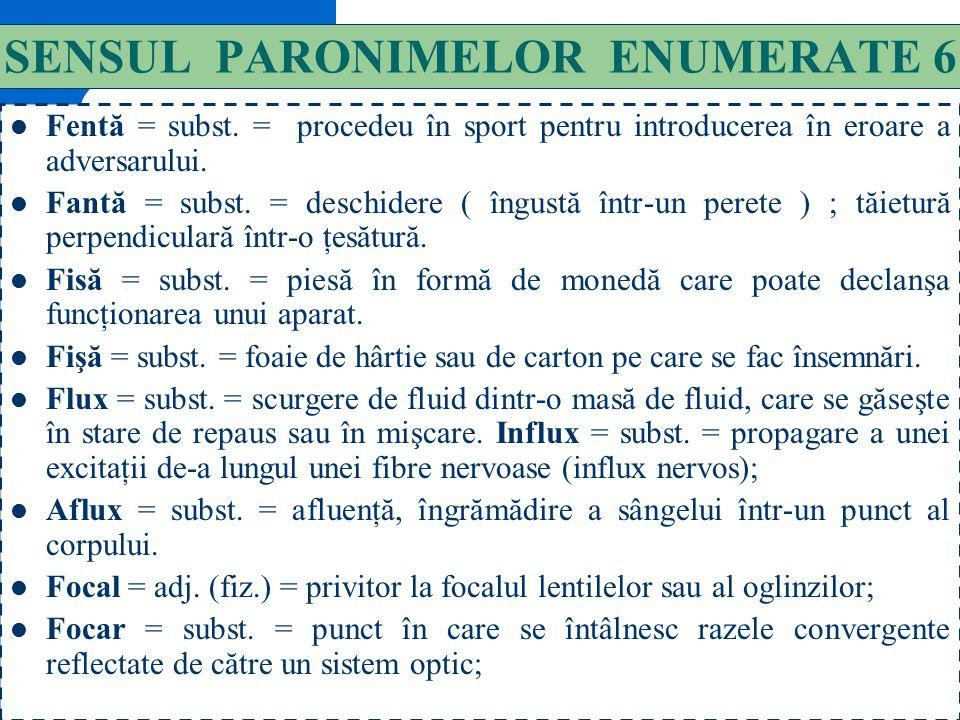 SENSUL PARONIMELOR ENUMERATE 6